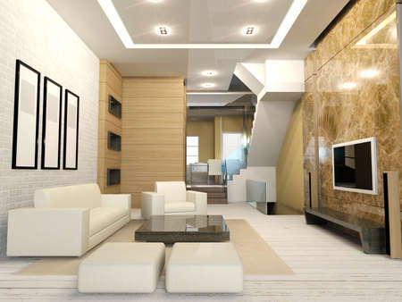 Apartment living room interior in modern and cozy atmosphere, 3D render Stock Photo