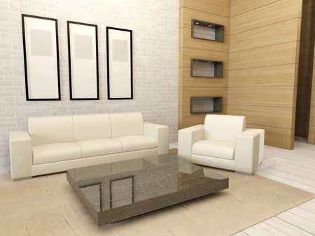 modern living: White modern living room interior Stock Photo