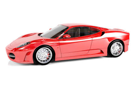 Red sport car on white background, 3D render