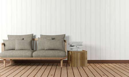 Zimmer Inter mit Sofa und Beistelltisch im minimalistischen Stil