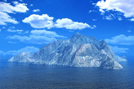 mountaintop: Rock mountain island in ocean under cloud blue sky for background, 3D render Stock Photo