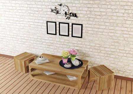 reloj pared: habitaci�n de estilo minimalista con muebles de dise�o simple en la vista superior, render 3D