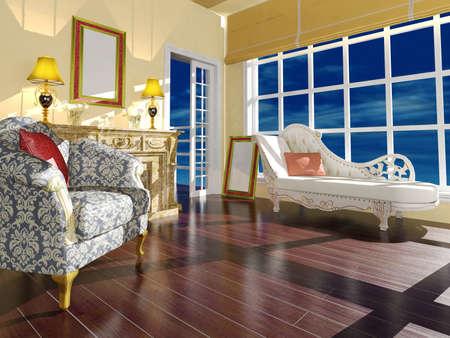 arredamento classico: Salone classico decorazione interna alla luce del giorno Archivio Fotografico