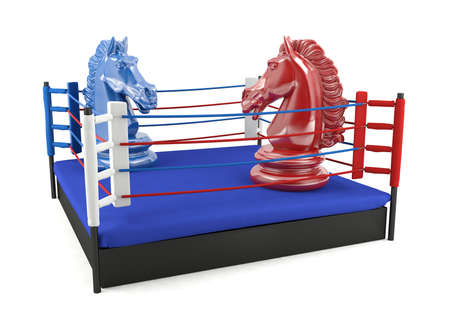 contradiction: Red and blue chess knight confronting in boxing ring, strategic competition concept