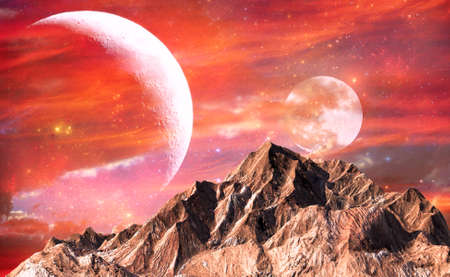 red sky: Rock mountain with red sky and twin moons as background for science fiction concept