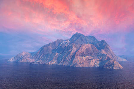 mountaintop: Rock mountain island in ocean under dusk sky Stock Photo