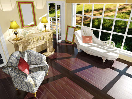 classic living room: Classic living room interior decoration in daylight