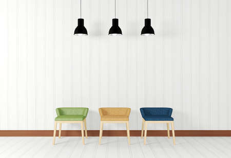 White room interior in simple and minimal style with ceiling lamps and colorful chairs Stock Photo