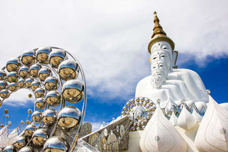 The white statue of five Lord Buddha at Wat Pra Tat Son Kaew, Petchaboon province, Thailand