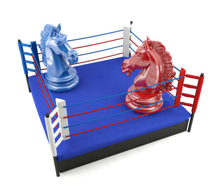 Red and blue chess knight confronting in boxing ring, strategic competition concept