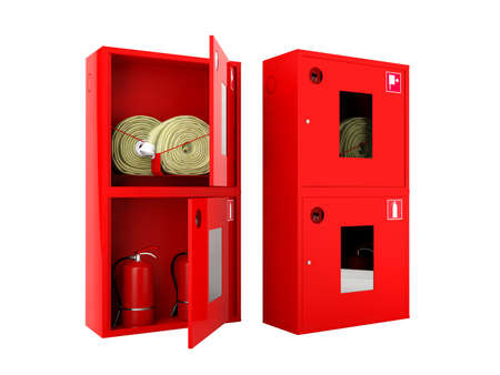 cabinets: Red fire hose  and fire extinguisher cabinets on white background Stock Photo