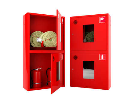 precaution: Red fire hose  and fire extinguisher cabinets on white background Stock Photo