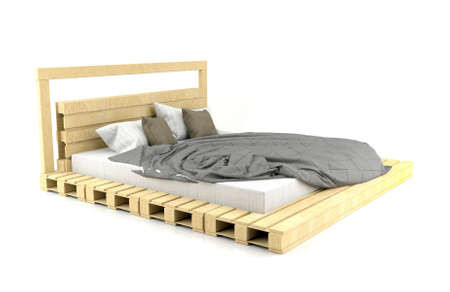 wooden bed: Modern and Loft design wooden bed isolated on white background