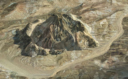geological feature: Isolated rock mountain from aerial view for background, 3D render