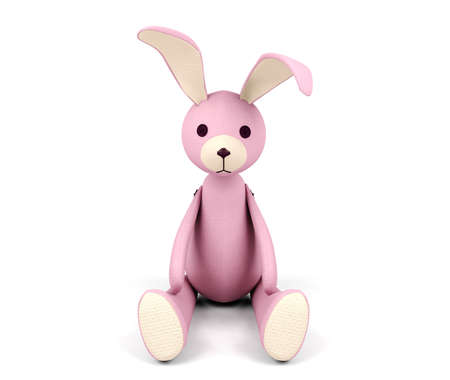 pink rabbit: Pink rabbit doll isolated on white background
