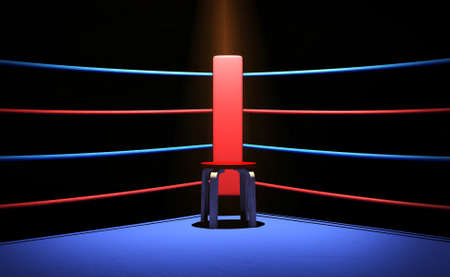 boxing match: Boxing ring with chair at the corner Stock Photo