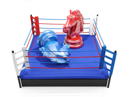wins: Red chess knight wins over blue chess knight on boxing ring, strategic competition concept
