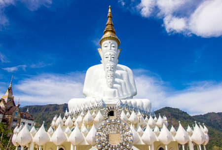 The white statue of five Lord Buddha