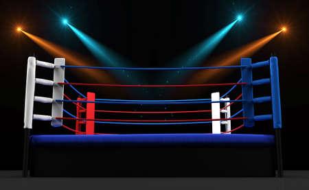 Boxring mit Scheinwerfer auf dunklem Hintergrund isoliert