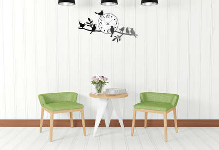 room decoration: White room interior and vintage decorations