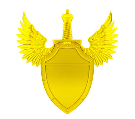 golden shield: Golden shield with wings and sword