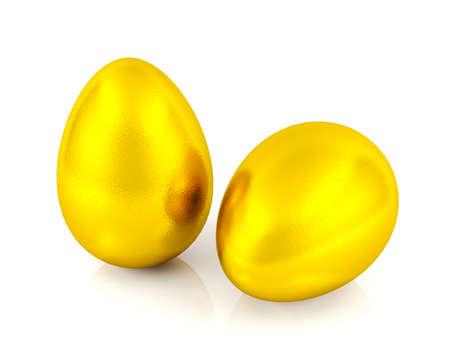 holiday profits: Golden eggs isolated on white background Stock Photo