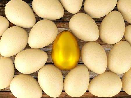 Wertvolle goldene Ei für Führungskonzept, 3D übertragen Standard-Bild