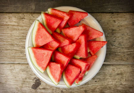 seedless: Seedless watermelon cut into wedges Stock Photo