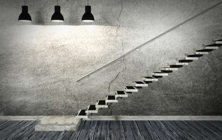 old room: Dark old room and staircase interior in minimal style