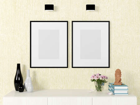 modern frame: Poster template mock up on wall with decorative elements Stock Photo