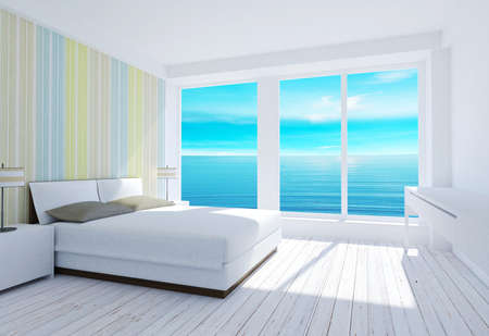 contemporary living room: White modern loft bedroom interior with sea view, 3D rendering