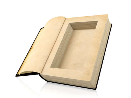 concealment: Opened ancient paper book with a hole in a middle for hiding something inside, 3D rendering