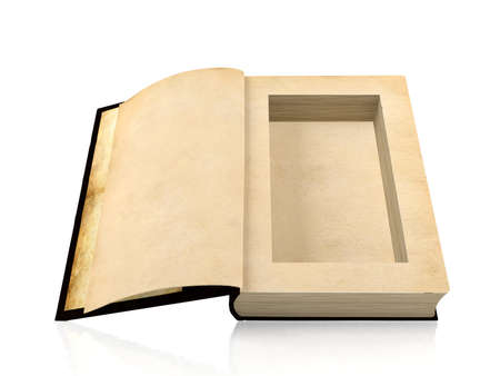 ancient paper: Opened ancient paper book with a hole in a middle for hiding something inside, 3D rendering