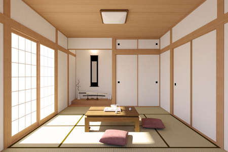 accommodation space: Japanese living room interior in traditional and minimal design with Tatami mat floor, Japanese Shoji door and Japanese sword Stock Photo