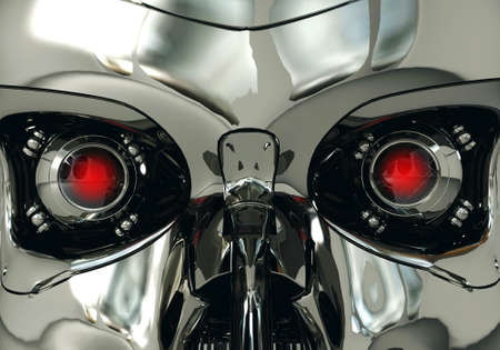 eyes opened: Red robotic eyeballs and robot skull in metallic surface, cybernetic technology, 3D rendering