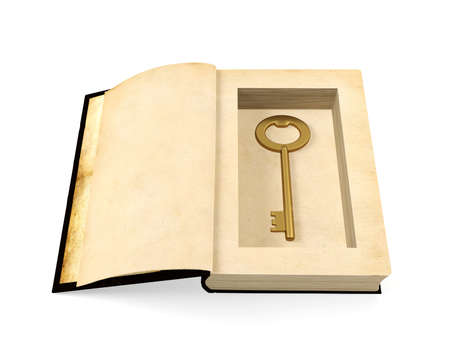 concealment: Opened ancient paper book with retro golden key hidden inside, secrecy concept