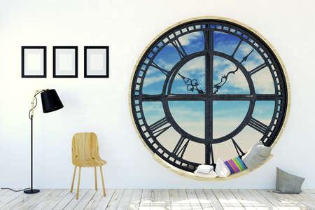 silla de madera: entre el sitio blanco en la decoración minimalista con ventana redonda reloj de metal, silla de madera, marcos de fotos y la lámpara de pie, 3D