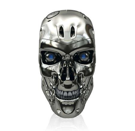 금속 표면과 푸른 빛나는 눈 웃는 로봇 두개골에 격리 된 흰색 배경 스톡 콘텐츠