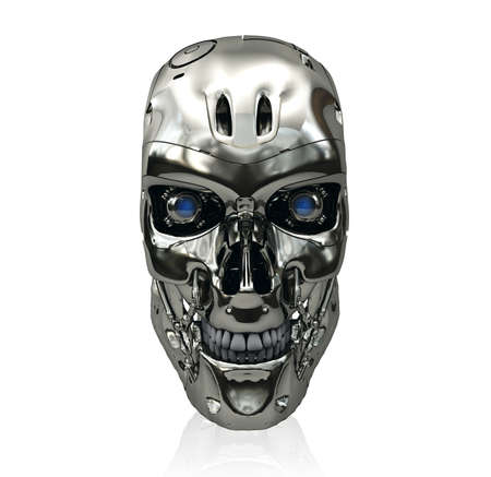 eyes opened: Robot skull with metallic surface and blue glowing eyes smiling isolated on white background