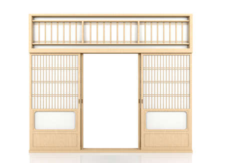 Wooden traditional Japanese Shoji door isolated on white background photo  sc 1 st  123RF Stock Photo & Wooden Traditional Japanese Shoji Door Japanese Traditional.. Stock ...