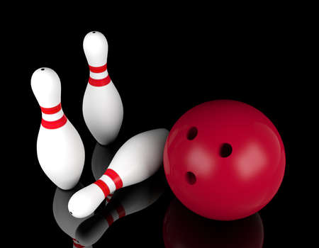 Bowling ball and bowling pins on black background. Individual indoor sport concept, 3D rendering