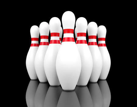 individual sport: bowling pins on black background, 3D rendering