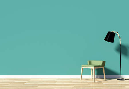 Habitación interior con el espacio vacío decorado con pared verde, silla y lámpara de pie, 3D