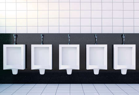 Public mens toilet room interior with white urinals row on white tiles wall and floor, 3D rendering Stock Photo