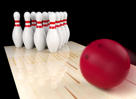 Bowling ball moving straight to bowling pin. Indoor sport concept, 3D rendering
