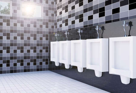 Public men's toilet room interior with white urinals row on tiles wall and floor , 3D rendering
