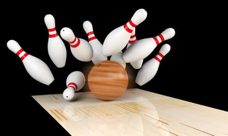 bowling strike: Bowling strike, scattered skittle and bowling ball on bowling lane with motion blur on bowling ball, 3D rendering