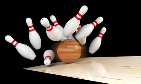 sporting equipment: Bowling strike, scattered skittle and bowling ball on bowling lane with motion blur on bowling ball, 3D rendering