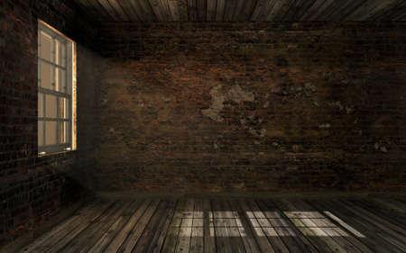 古いひびの入ったレンガの壁と部屋とボリューム ウィンドウを介して光の古い堅木張りの床の空の暗い古い放棄。薄暗いライト、3 D レンダリングと