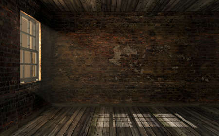 Empty dark old abandoned room with old cracked brick wall and old hardwood floor with volume light through window pane. Haunted room in dark atmosphere with dim light, 3D rendering Stockfoto